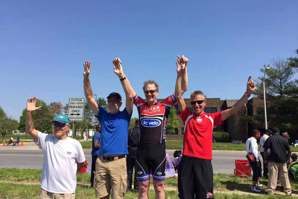 Dr. Ross on winning stand after bike race